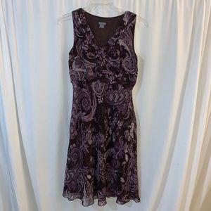 Ann Taylor Women's Plum Paisley Print Dress Size 8